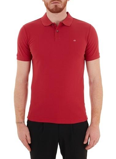 Calvin Klein  Slim Fit % 100 Pamuk Düğmeli Polo T Shirt Erkek Polo K10K102758 Xk6 Kırmızı